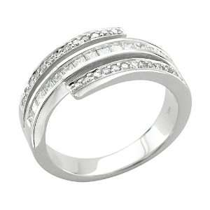 14k White Gold Round and Princess Cut Diamond Ring Band (GH, I1, 0.66