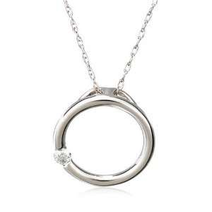 White Gold Diamond Circle Pendant (.03 cttw, J Color, I2 Clarity), 18