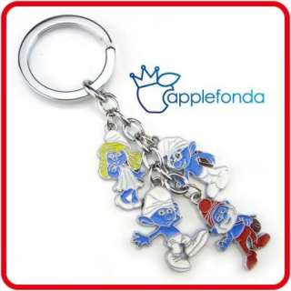 U203 Hit Iphone game alloy metal keyring key chain blue smurfs