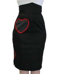 TOO FAST CLOTHING HIGH WAISTED BLACK PENCIL PINUP SKIRT ROCKABILLY S M