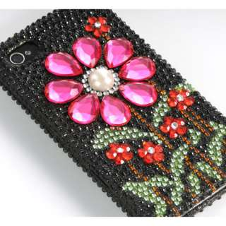 3D Pink Sun Flower Bling Diamond Black Hard Case For Apple iPhone 4S 4