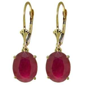 Yellow Gold Leverback Dangle Earrings with Oval shaped Natural Rubies