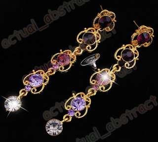 W23956 costume purple rhinestone 1Set Necklace Earring