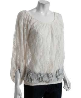 Romeo & Juliet Couture ivory lace peasant blouse
