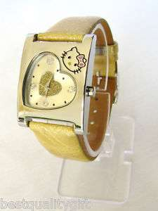 HELLO KITTY GOLD WATCH HEART FACE LEATHER BAND NEW