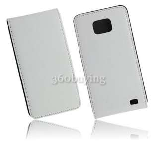 White Flip Leather Protector Case Cover Pouch for Samsung Galaxy S 2
