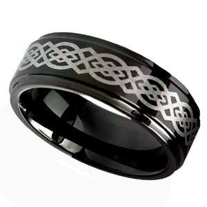 8MM Mens Tungsten Carbide Ring Wedding Band Black plated with Celtic