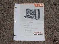 Sony TC 260 Reel to Reel Tape Deck Service Manual 4 R2R