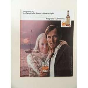 V.O. whiskey, 1971 print ad (boat/woman/man.) Orinigal Magazine