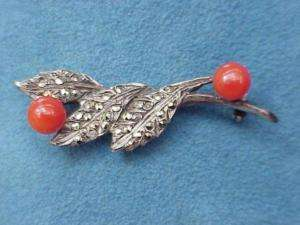 Antique MARCASITE Red CORAL Sterling Silver 925 Branch Pin Brooch