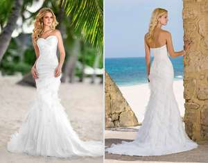 Beautiful Beach white/ivory Wedding Dress Bridal Gown Size*Custom