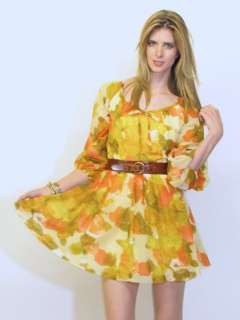 MOD SPACE AGE YELLOW WARM TONES WATER COLOR SHEER MINI DRESS
