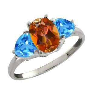 Ct Oval Ecstasy Mystic Topaz and Swiss Blue Topaz Sterling Silver Ring