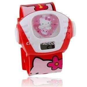 Hello Kitty Projector Electronic Digital Wrist Girls Kids Watch Red