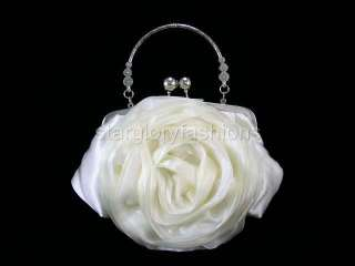 IVORY/CREAM Rose Wedding Purse Clutch Handle Crystal