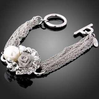 Swarovski Crystal Rose Pearl Pendant W Gold GP Bracelet