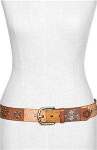 BRAND WOMENS SUNSET PATCHWORK LEATHER BELT ONE SIZE L LARGE