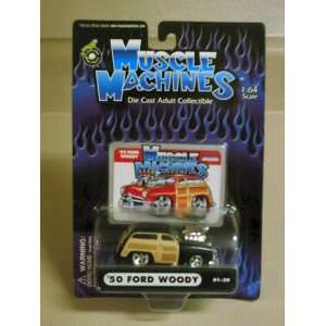 2000 Muscle Machines 164 Scale Black 50 Ford Woody Toys & Games