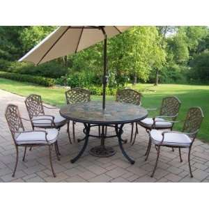 Oakland Living Stone Art 54in 7pc Dining Set with Cushions