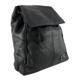 Black Lambskin Leather Backpack Purse Shoulder Bag