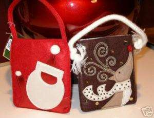 New Felt or Knit CHRISTMAS Gift Wrap Bag Sets