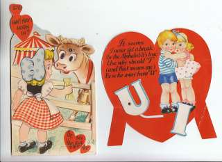 29 Valentine Vintage Greeting Cards 1940 60s People Kids Rabbit Jack