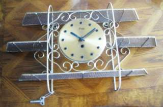 FINE QUALITY LARGE BRASS WALL CLOCK WITH SHELVES RARE