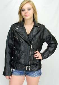 VTG Black LEATHER Motorcycle Biker Belted JACKET Sz M/L
