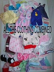 BABY DOLL VARIOUS SIZE CLOTHING LOT  HATS  TIGHTS  PANTS  TOPS  PJ