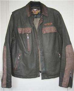 Harley Davidson Shadow Olive Canvas & Leather Jacket Vintage Large