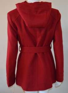 Anne Klein Womens Belted Red Wool Coat size Medium 8/10 Hooded Jacket