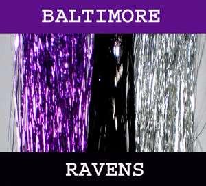 Ravens Hair Tinsel 100% Silk 21 Stands Purple Black & Silver