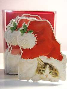 Carol WIlson Christmas Cards   Kitten under Santas hat