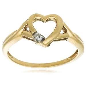Gold Diamond Heart Ring (I J Color, I2 I3 Clarity), Size 7 Jewelry
