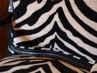French Style Black Armchair Zebra Print Upholstery