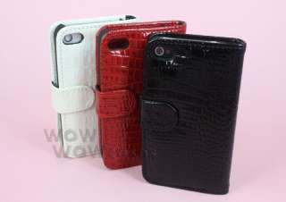 Crocodile Leather Wallet Case Cover for iPhone 4G 4 Black Red