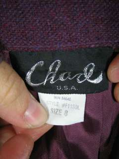Vtg 80s Woven Wool Suit Jacket Blazer Skirt 8 USA Made