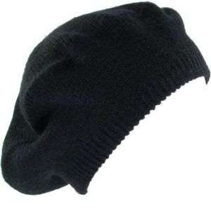 NEW SOLID BERET TAM KNIT SLOUCHY JUNIOR CAP HAT BLACK