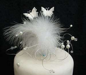 WHITE BUTTERFLY/ FEATHER CAKE TOPPER WEDDING/BIRTHDAY