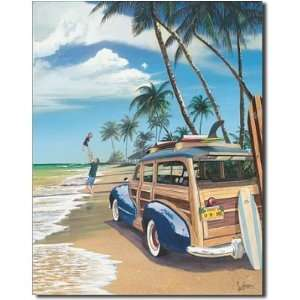 Me Woody Car on Beach Surf Board Surfing Tin Sign