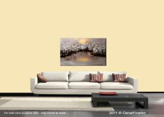 painting modern fine art landscape trees forest lake by OSNAT