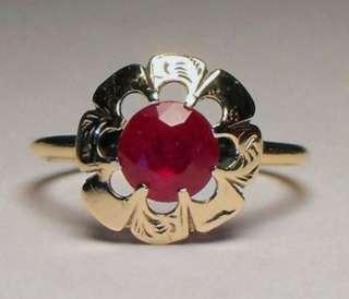 GEORGIAN CIRCA 1830S GENUINE RUBY SOLID 14K YELLOW GOLD RING