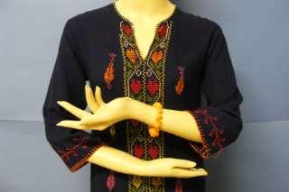 Hand Embroidered Vinage Folk Blue BEDOUIN Islamic Arabic Maxi Dress