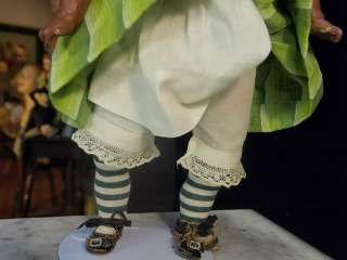 Composition Doll w Glass Eyes in Cute Green Striped Stockings