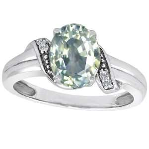 CandyGem 10k Gold Lab Created Oval Green Amethyst and Diamond