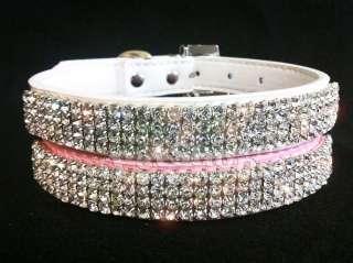 Bling Crystal Cat Pet Dog Rhinestone Leather Dog Collar