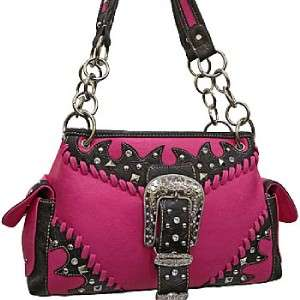 Fuchsia Hot Pink Black Western Tooled Rhinestone Belt Buckle Handbag