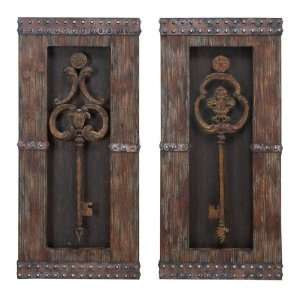 Classic Wood Metal Wall Decor   Set of Two Home & Kitchen