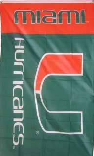 NEW 3ftx5 UNIV. MIAMI HURRICANES NCAA STORE BANNER FLAG
