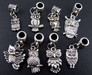 Wholesale Mix 100pc Tibetan Silver Owl Charms Beads Fit European